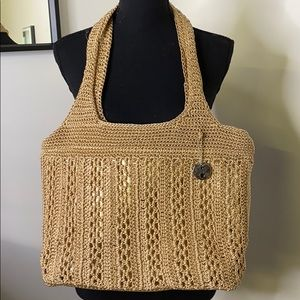 THE SAK Signature Tan Crocheted Boho Hippie Bag